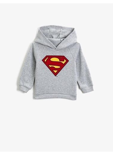Koton Superman Lisansli Baskili Kapüsonlu Uzun Kollu Sweatshirt Gri